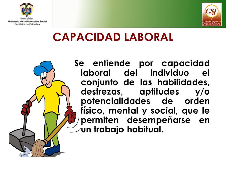 CAPACIDAD LABORAL Se entiende por capacidad laboral del individuo el conjunto de las habilidades, destrezas, aptitudes y/o potencialidades de orden fí