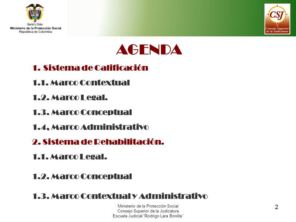 2 Ministerio de la Protección Social Consejo Superior de la Judicatura Escuela Judicial Rodrigo Lara Bonilla AGENDA 1.Sistema de Calificación 1.1. Mar