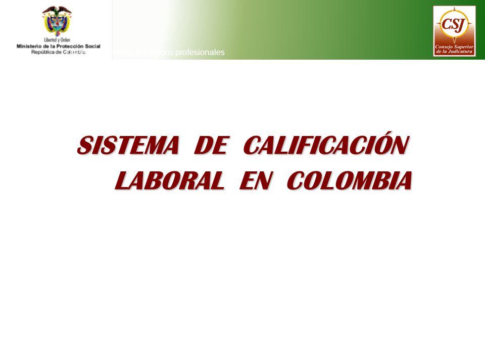 SISTEMA DE CALIFICACIÓN LABORAL EN COLOMBIA Direeción General de Riesgos profesionales