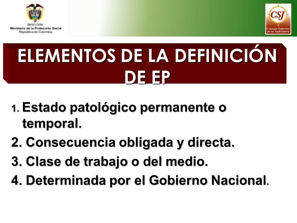 ELEMENTOS DE LA DEFINICIÓN DE EP 1. Estado patológico permanente o temporal. 2. Consecuencia obligada y directa. 3. Clase de trabajo o del medio. 4. D