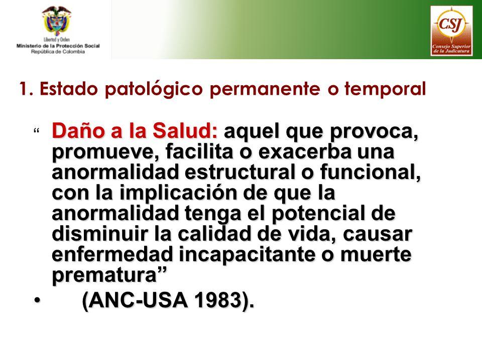 1. Estado patológico permanente o temporal Daño a la Salud: aquel que provoca, promueve, facilita o exacerba una anormalidad estructural o funcional,
