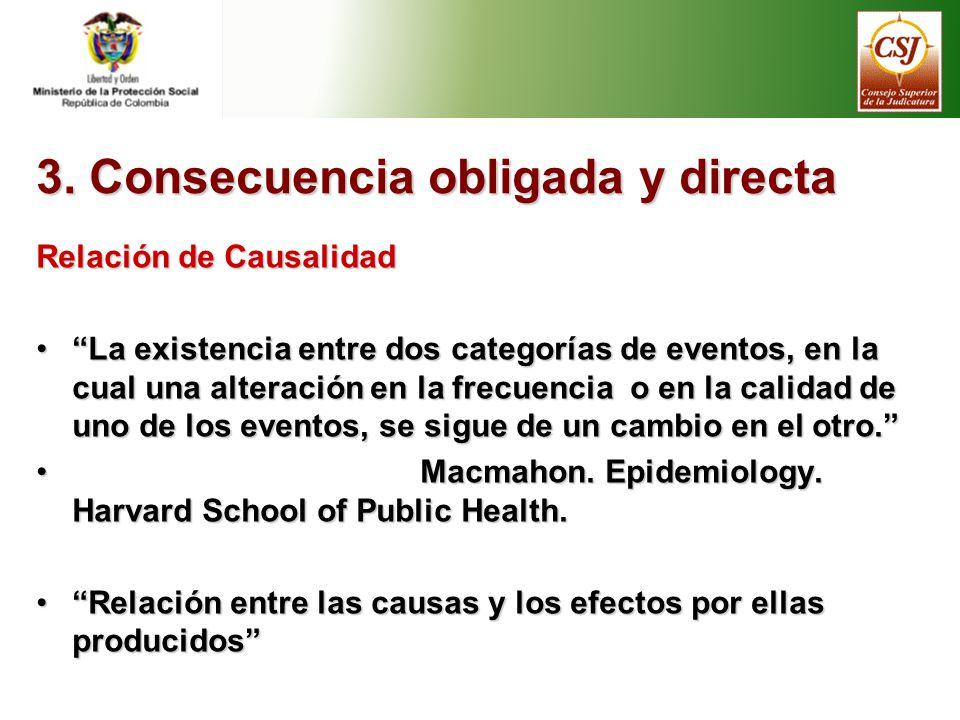 3. Consecuencia obligada y directa Relación de Causalidad La existencia entre dos categorías de eventos, en la cual una alteración en la frecuencia o