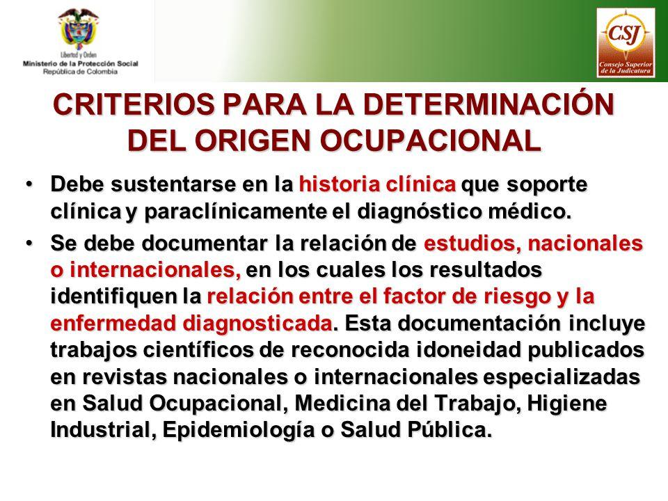 CRITERIOS PARA LA DETERMINACIÓN DEL ORIGEN OCUPACIONAL Debe sustentarse en la historia clínica que soporte clínica y paraclínicamente el diagnóstico m