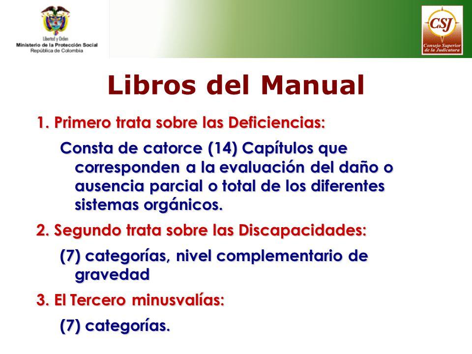 Libros del Manual 1. Primero trata sobre las Deficiencias: Consta de catorce (14) Capítulos que corresponden a la evaluación del daño o ausencia parci