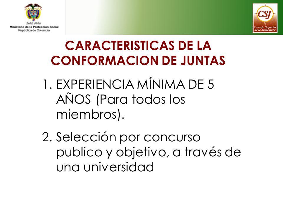 CARACTERISTICAS DE LA CONFORMACION DE JUNTAS 1.EXPERIENCIA MÍNIMA DE 5 AÑOS (Para todos los miembros). 2.Selección por concurso publico y objetivo, a