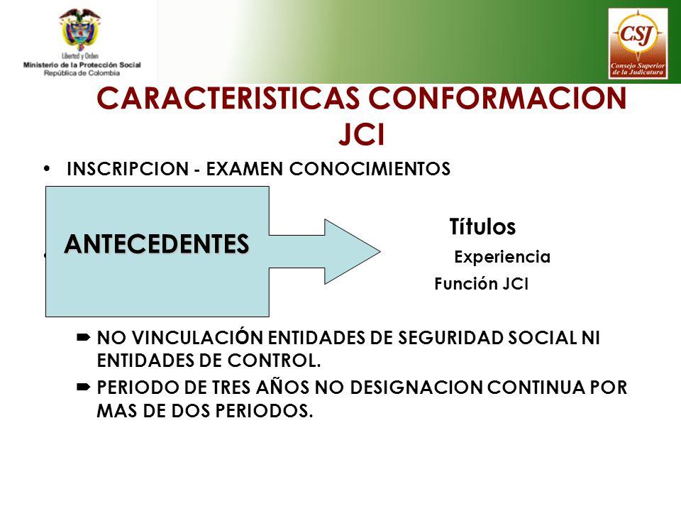 CARACTERISTICAS CONFORMACION JCI INSCRIPCION - EXAMEN CONOCIMIENTOS T í tulos Experiencia Funci ó n JCI NO VINCULACI Ó N ENTIDADES DE SEGURIDAD SOCIAL
