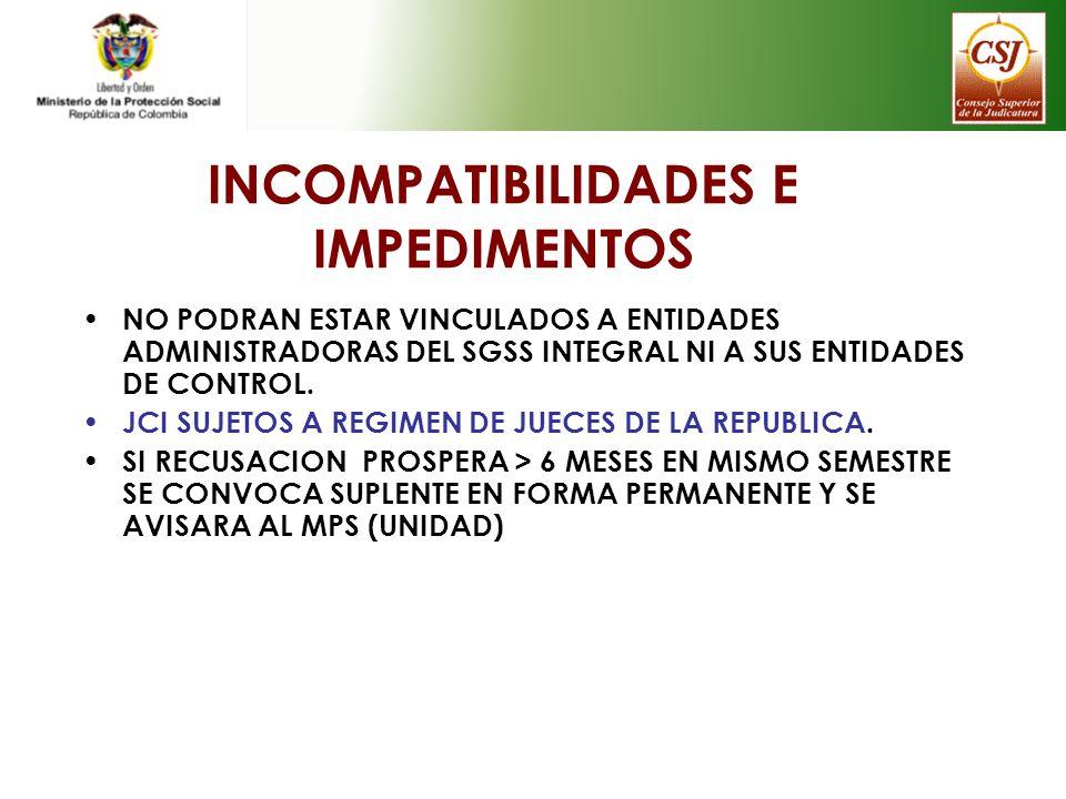 INCOMPATIBILIDADES E IMPEDIMENTOS NO PODRAN ESTAR VINCULADOS A ENTIDADES ADMINISTRADORAS DEL SGSS INTEGRAL NI A SUS ENTIDADES DE CONTROL. JCI SUJETOS