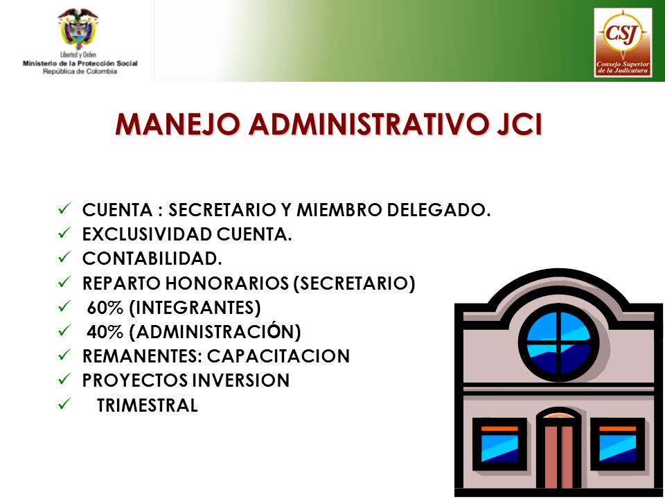 MANEJO ADMINISTRATIVO JCI CUENTA : SECRETARIO Y MIEMBRO DELEGADO. EXCLUSIVIDAD CUENTA. CONTABILIDAD. REPARTO HONORARIOS (SECRETARIO) 60% (INTEGRANTES)