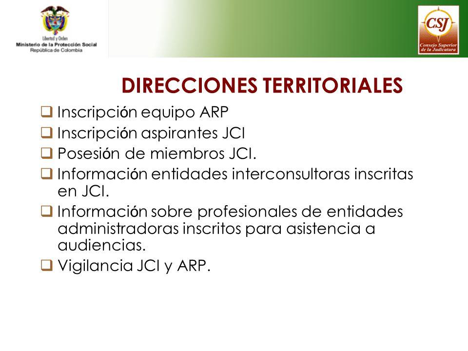 DIRECCIONES TERRITORIALES Inscripci ó n equipo ARP Inscripci ó n aspirantes JCI Posesi ó n de miembros JCI. Informaci ó n entidades interconsultoras i