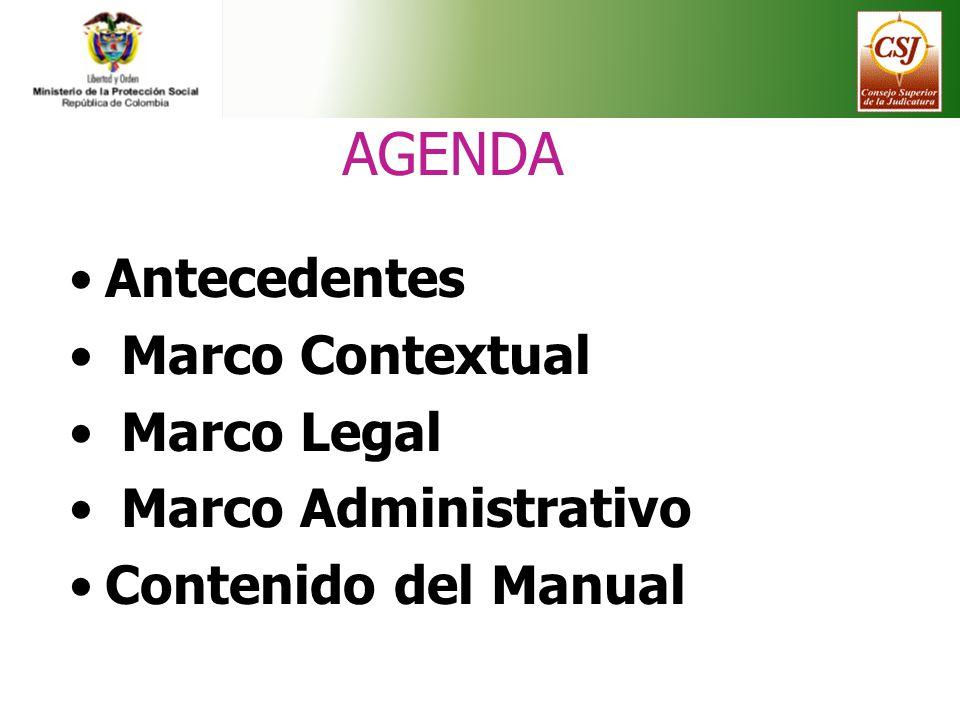 AGENDA Antecedentes Marco Contextual Marco Legal Marco Administrativo Contenido del Manual