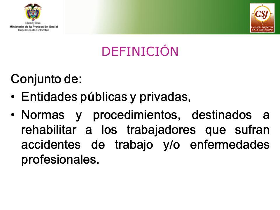 DEFINICI Ó N Conjunto de: Entidades p ú blicas y privadas, Normas y procedimientos, destinados a rehabilitar a los trabajadores que sufran accidentes
