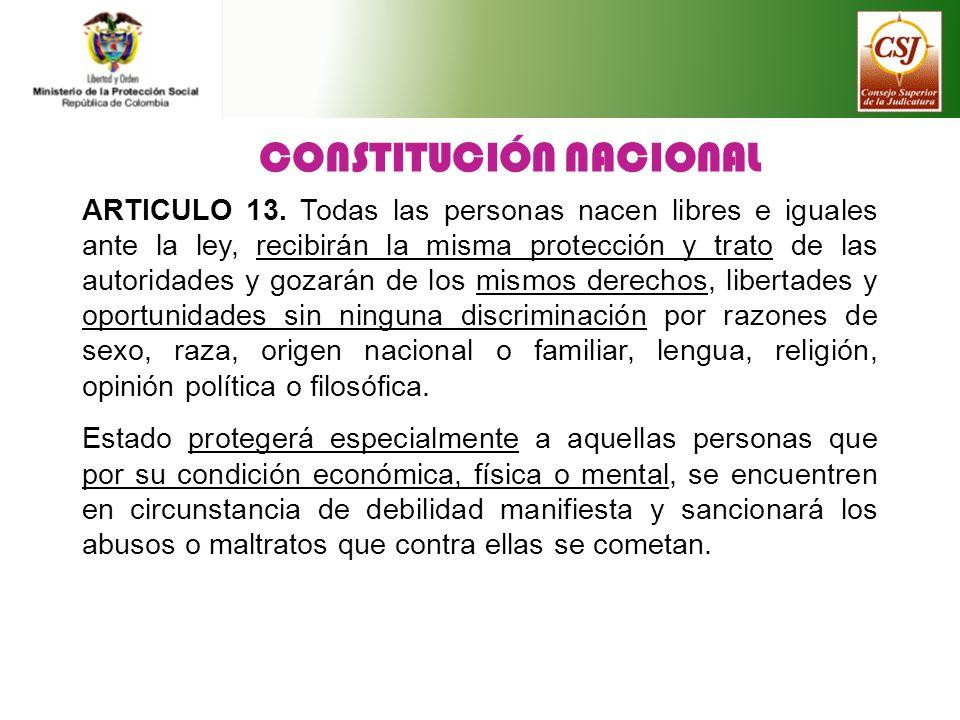 CONSTITUCIÓN NACIONAL ARTICULO 13. Todas las personas nacen libres e iguales ante la ley, recibirán la misma protección y trato de las autoridades y g