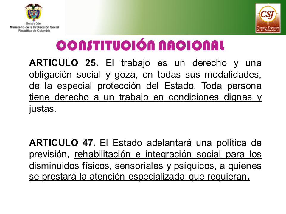 CONSTITUCIÓN NACIONAL ARTICULO 25. El trabajo es un derecho y una obligación social y goza, en todas sus modalidades, de la especial protección del Es