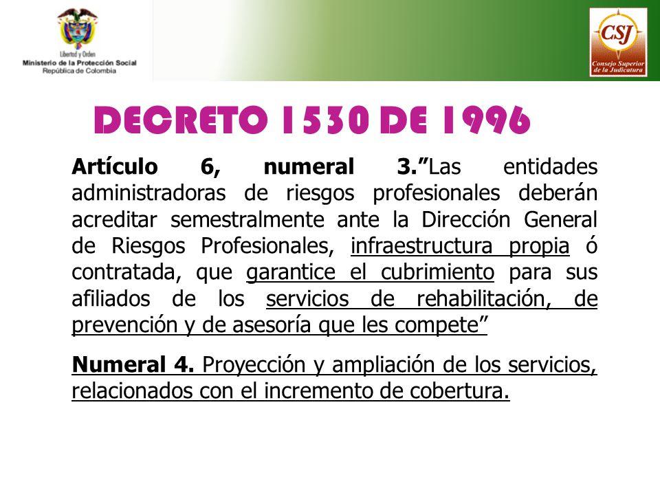DECRETO 1530 DE 1996 Artículo 6, numeral 3.Las entidades administradoras de riesgos profesionales deberán acreditar semestralmente ante la Dirección G