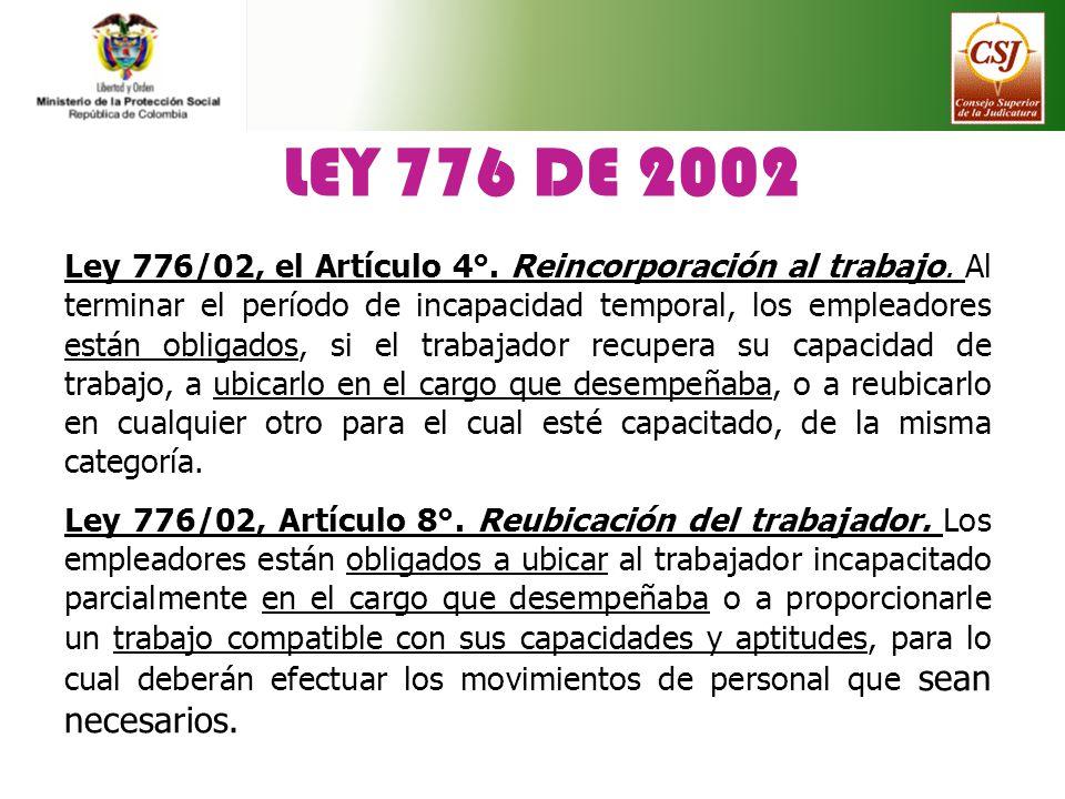 LEY 776 DE 2002 Ley 776/02, el Artículo 4°. Reincorporación al trabajo. Al terminar el período de incapacidad temporal, los empleadores están obligado