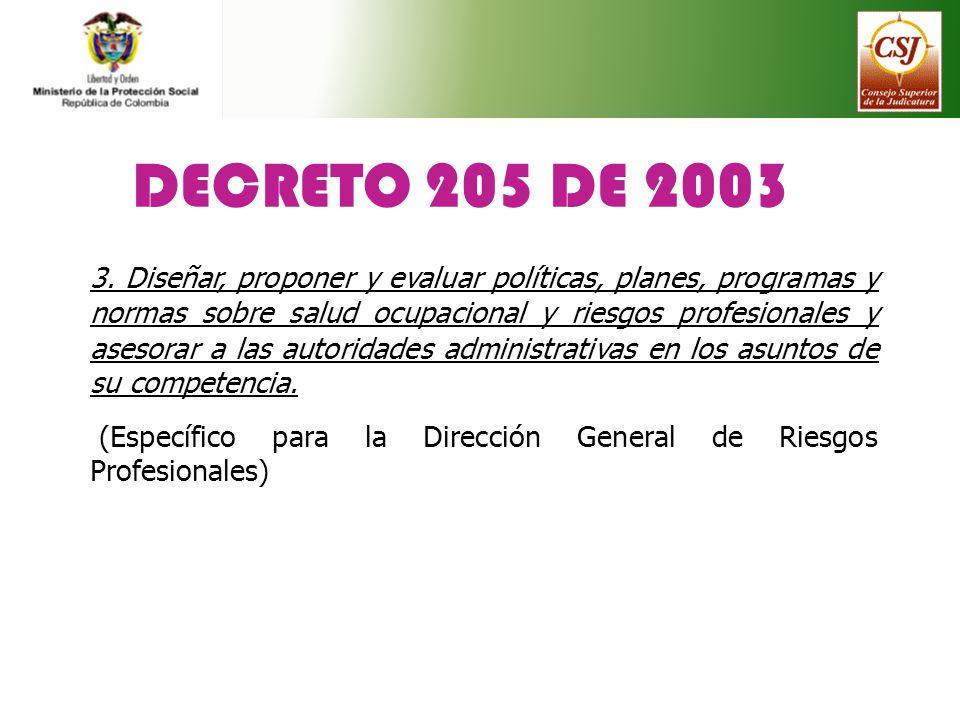DECRETO 205 DE 2003 3. Diseñar, proponer y evaluar políticas, planes, programas y normas sobre salud ocupacional y riesgos profesionales y asesorar a