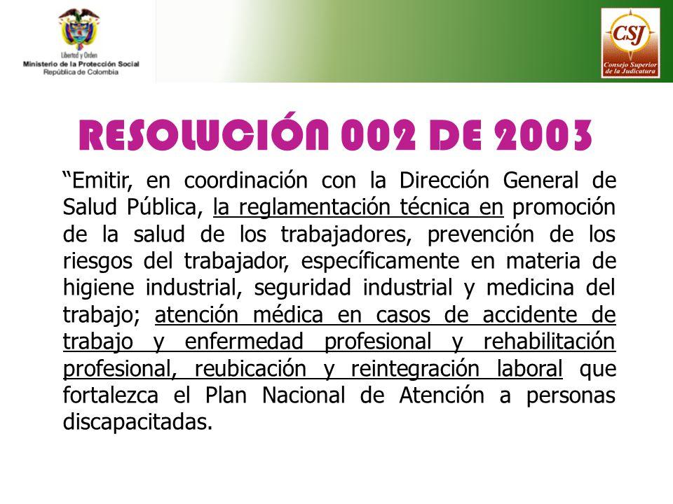 RESOLUCIÓN 002 DE 2003 Emitir, en coordinación con la Dirección General de Salud Pública, la reglamentación técnica en promoción de la salud de los tr