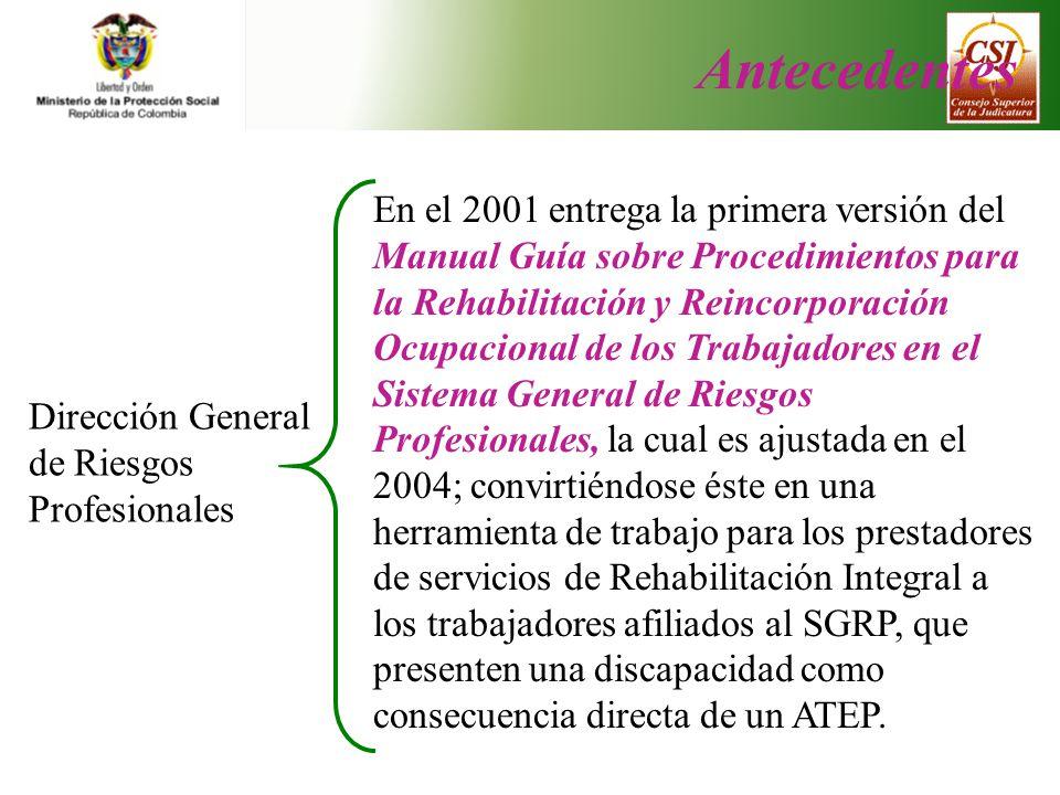 En el 2001 entrega la primera versión del Manual Guía sobre Procedimientos para la Rehabilitación y Reincorporación Ocupacional de los Trabajadores en