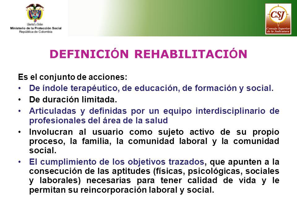 DEFINICI Ó N REHABILITACI Ó N Es el conjunto de acciones: De índole terapéutico, de educación, de formación y social. De duración limitada. Articulada