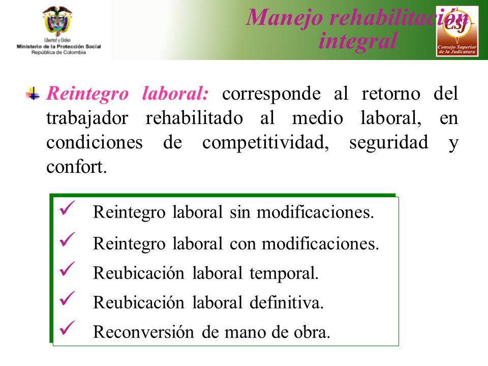 Reintegro laboral: corresponde al retorno del trabajador rehabilitado al medio laboral, en condiciones de competitividad, seguridad y confort. Reinteg