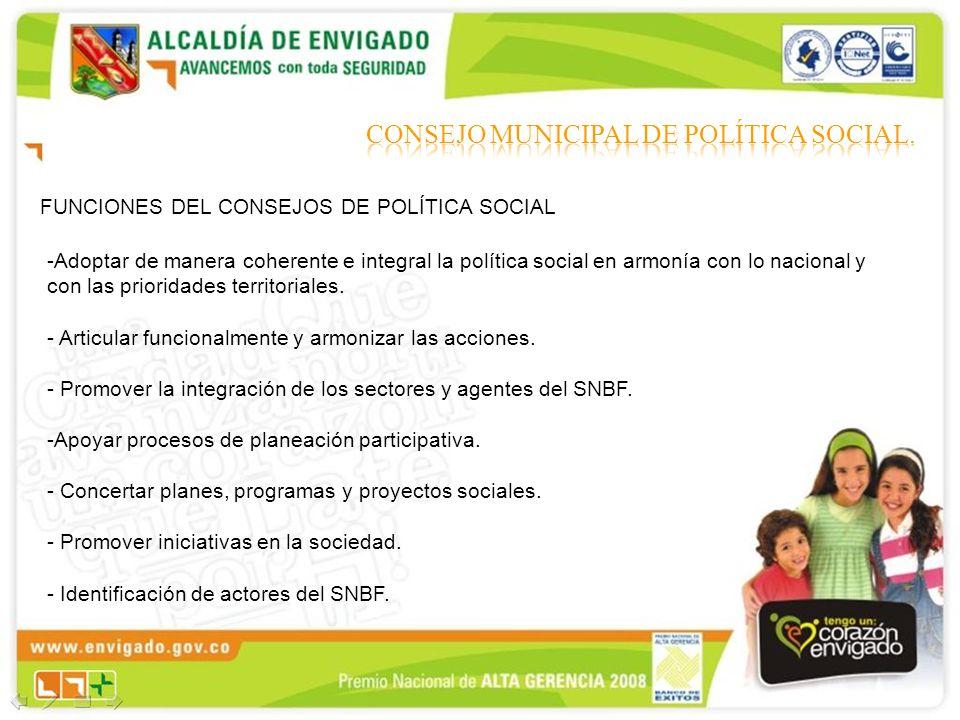 FUNCIONES DEL CONSEJOS DE POLÍTICA SOCIAL -Adoptar de manera coherente e integral la política social en armonía con lo nacional y con las prioridades