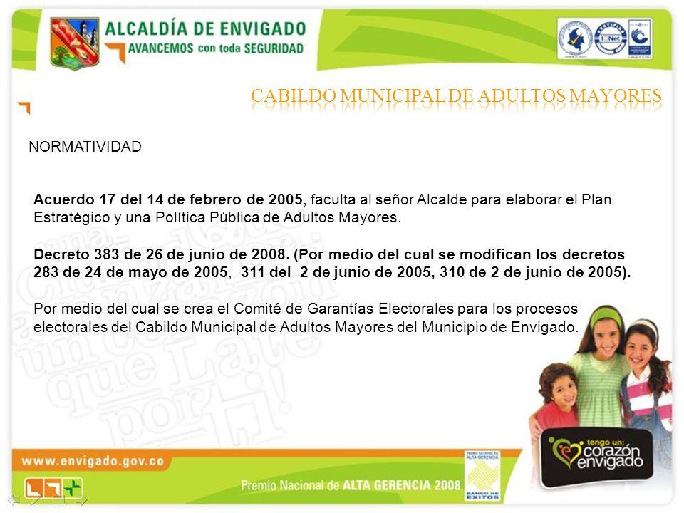 NORMATIVIDAD Acuerdo 17 del 14 de febrero de 2005, faculta al señor Alcalde para elaborar el Plan Estratégico y una Política Pública de Adultos Mayore