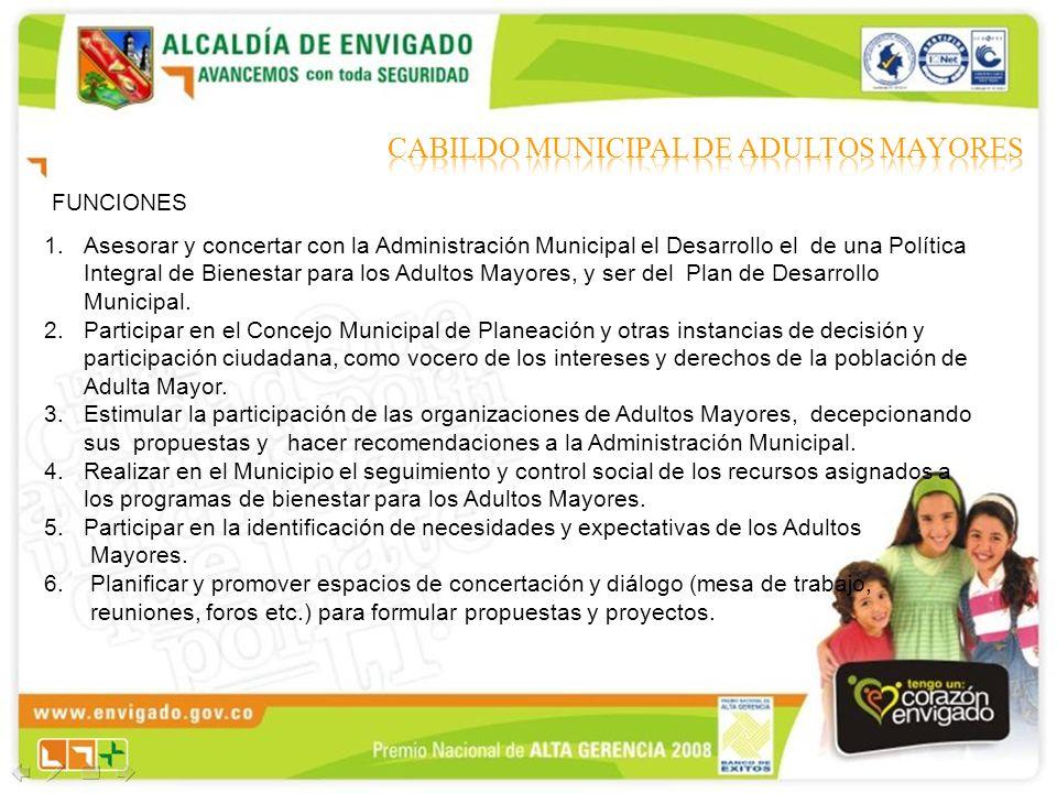 FUNCIONES 1.Asesorar y concertar con la Administración Municipal el Desarrollo el de una Política Integral de Bienestar para los Adultos Mayores, y se