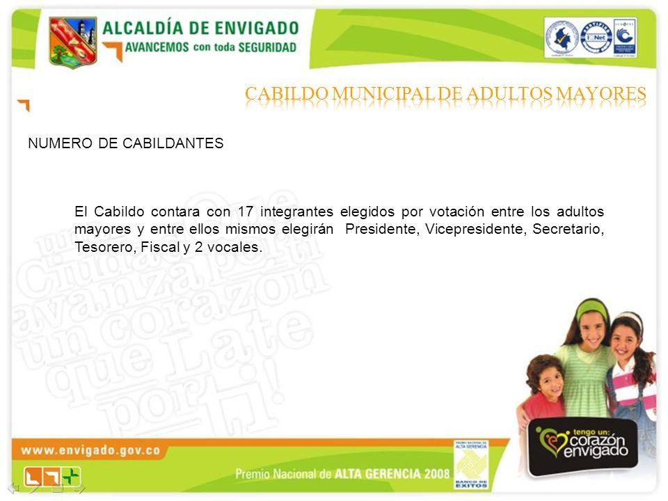 NUMERO DE CABILDANTES El Cabildo contara con 17 integrantes elegidos por votación entre los adultos mayores y entre ellos mismos elegirán Presidente,