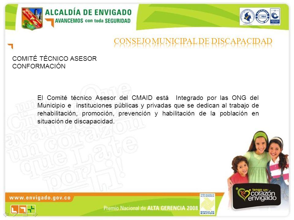 COMITÉ TÉCNICO ASESOR CONFORMACIÓN El Comité técnico Asesor del CMAID está Integrado por las ONG del Municipio e instituciones públicas y privadas que