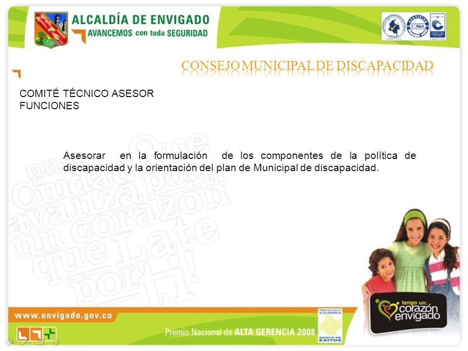 COMITÉ TÉCNICO ASESOR FUNCIONES Asesorar en la formulación de los componentes de la política de discapacidad y la orientación del plan de Municipal de