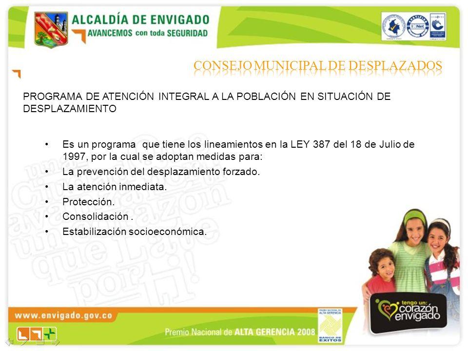 PROGRAMA DE ATENCIÓN INTEGRAL A LA POBLACIÓN EN SITUACIÓN DE DESPLAZAMIENTO Es un programa que tiene los lineamientos en la LEY 387 del 18 de Julio de