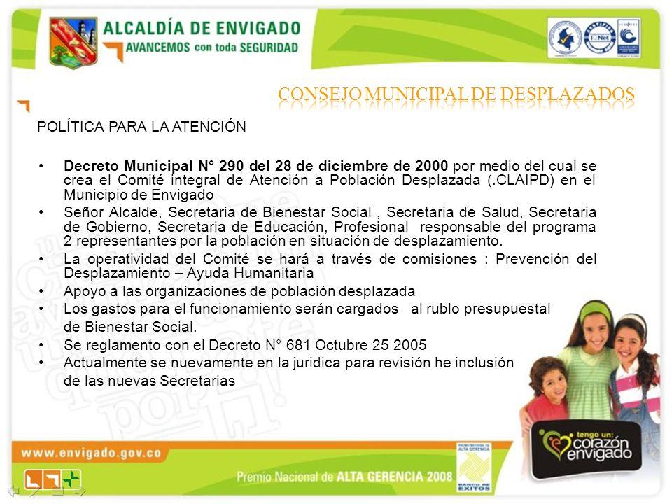 POLÍTICA PARA LA ATENCIÓN Decreto Municipal N° 290 del 28 de diciembre de 2000 por medio del cual se crea el Comité integral de Atención a Población D