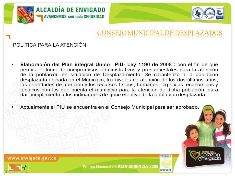 Elaboración del Plan integral Único –PIU- Ley 1190 de 2008 : con el fin de que permita el logro de compromisos administrativos y presupuestales para l