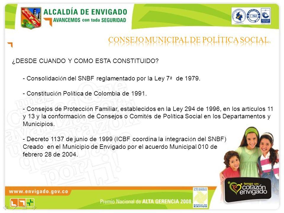 - Consolidaci ó n del SNBF reglamentado por la Ley 7 ª de 1979. - Constituci ó n Pol í tica de Colombia de 1991. - Consejos de Protecci ó n Familiar,