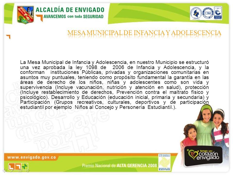 La Mesa Municipal de Infancia y Adolescencia, en nuestro Municipio se estructuró una vez aprobada la ley 1098 de 2006 de Infancia y Adolescencia, y la