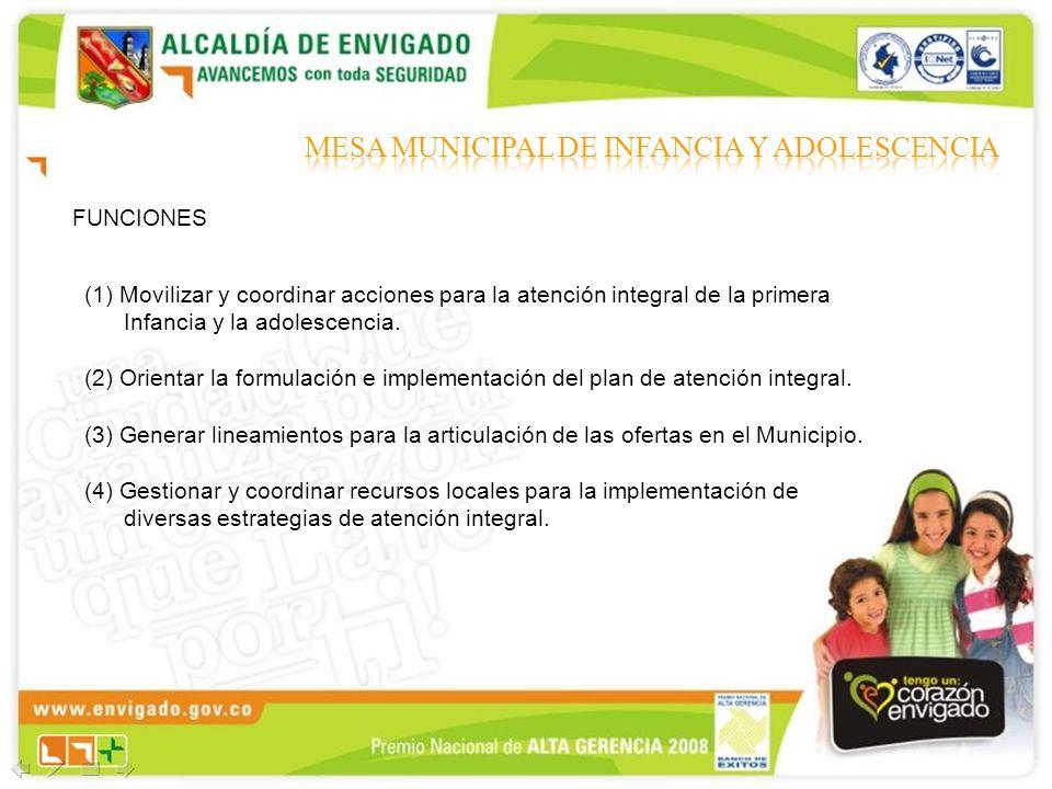 (1) Movilizar y coordinar acciones para la atención integral de la primera Infancia y la adolescencia. (2) Orientar la formulación e implementación de