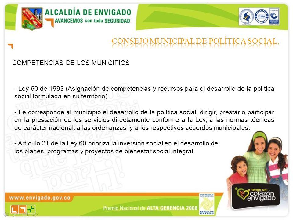 COMPETENCIAS DE LOS MUNICIPIOS - Ley 60 de 1993 (Asignación de competencias y recursos para el desarrollo de la política social formulada en su territ