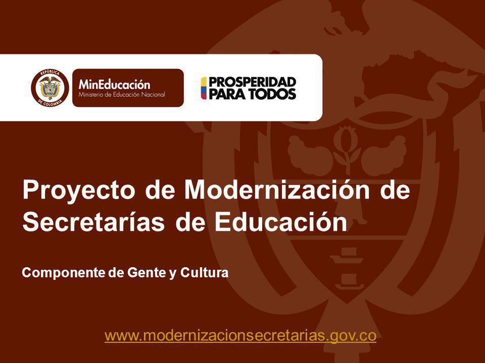 Proyecto de Modernización de Secretarías de Educación www.modernizacionsecretarias.gov.co Componente de Gente y Cultura