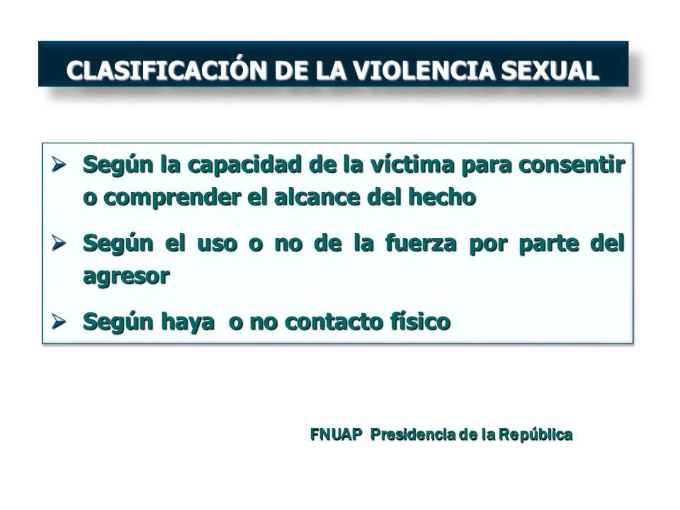 Según la capacidad de la víctima para consentir o comprender el alcance del hecho Según la capacidad de la víctima para consentir o comprender el alca