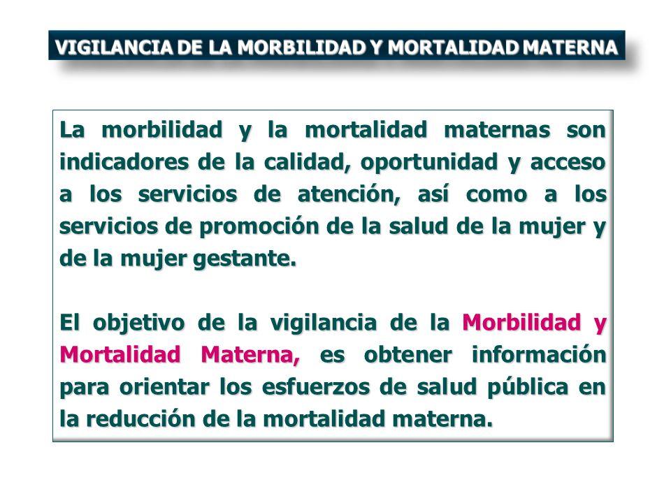 La morbilidad y la mortalidad maternas son indicadores de la calidad, oportunidad y acceso a los servicios de atención, así como a los servicios de pr