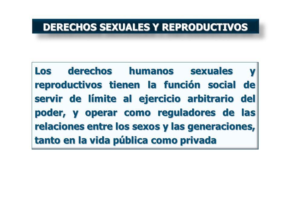 Los derechos humanos sexuales y reproductivos tienen la función social de servir de límite al ejercicio arbitrario del poder, y operar como reguladore