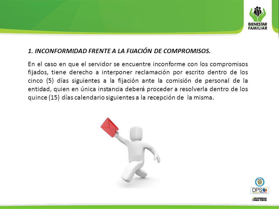 1. INCONFORMIDAD FRENTE A LA FIJACIÓN DE COMPROMISOS. En el caso en que el servidor se encuentre inconforme con los compromisos fijados, tiene derecho