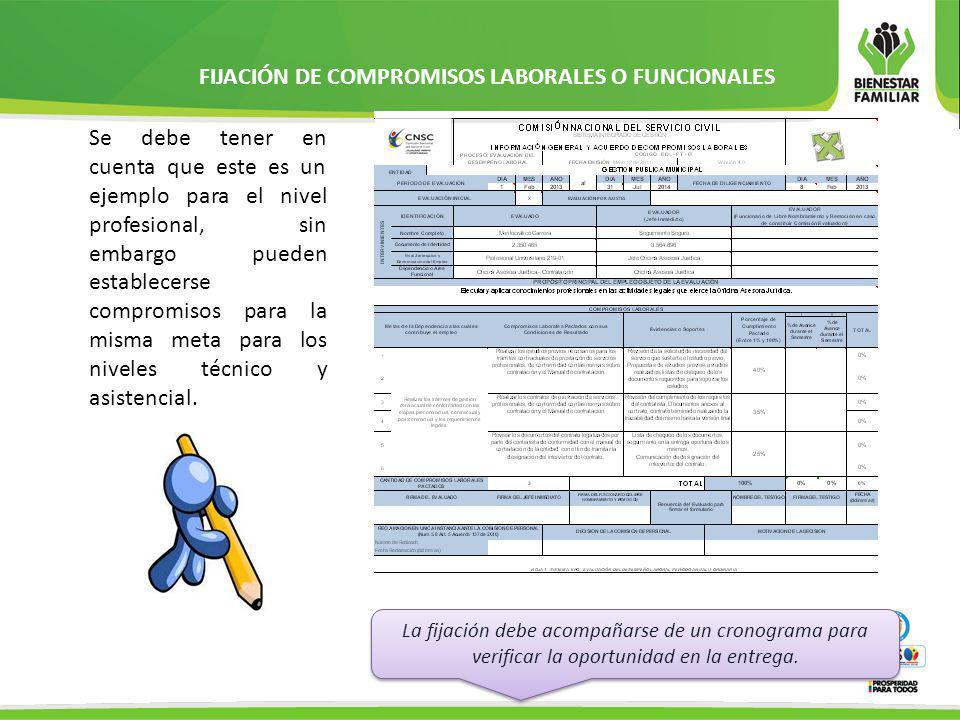 FIJACIÓN DE COMPROMISOS COMPORTAMENTALES: Estos deben tener relación directa con los compromisos funcionales.