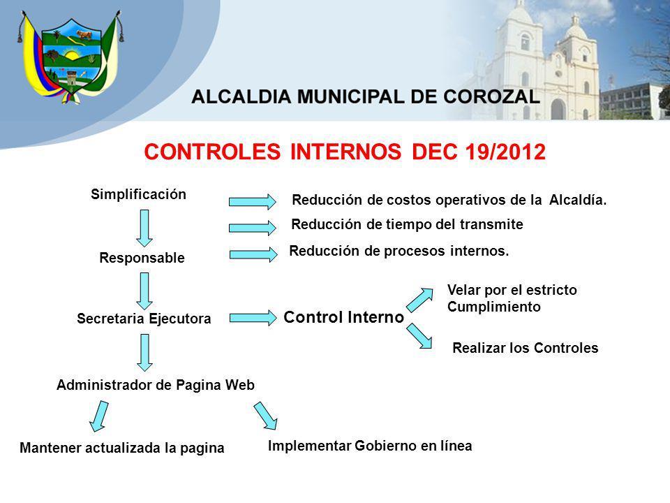 CONTROLES INTERNOS DEC 19/2012 Reducción de costos operativos de la Alcaldía.