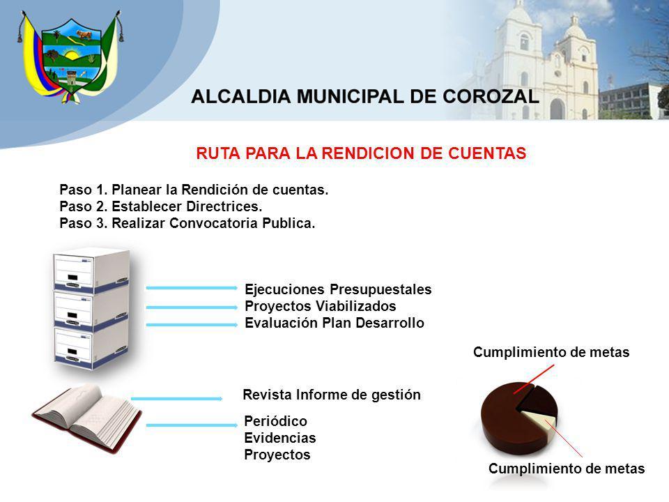 Ejecuciones Presupuestales Proyectos Viabilizados Evaluación Plan Desarrollo Revista Informe de gestión Periódico Evidencias Proyectos Cumplimiento de metas Paso 1.