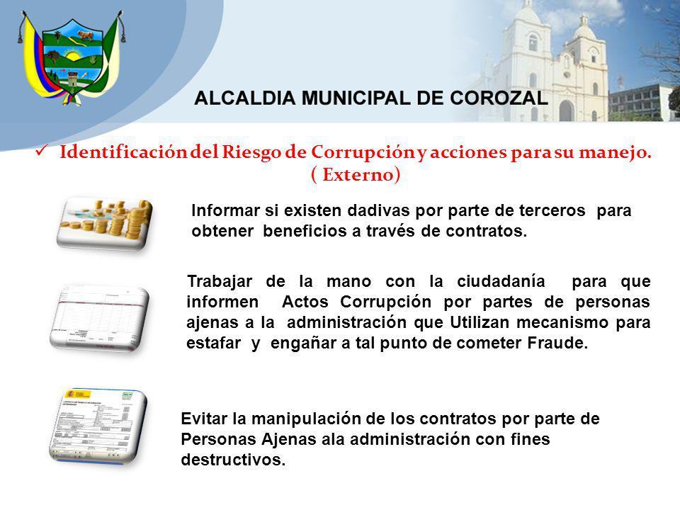 Identificación del Riesgo de Corrupción y acciones para su manejo.