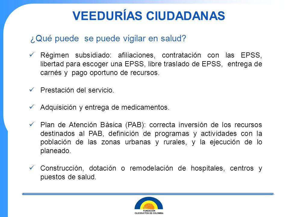 VEEDURÍAS CIUDADANAS Régimen subsidiado: afiliaciones, contratación con las EPSS, libertad para escoger una EPSS, libre traslado de EPSS, entrega de c