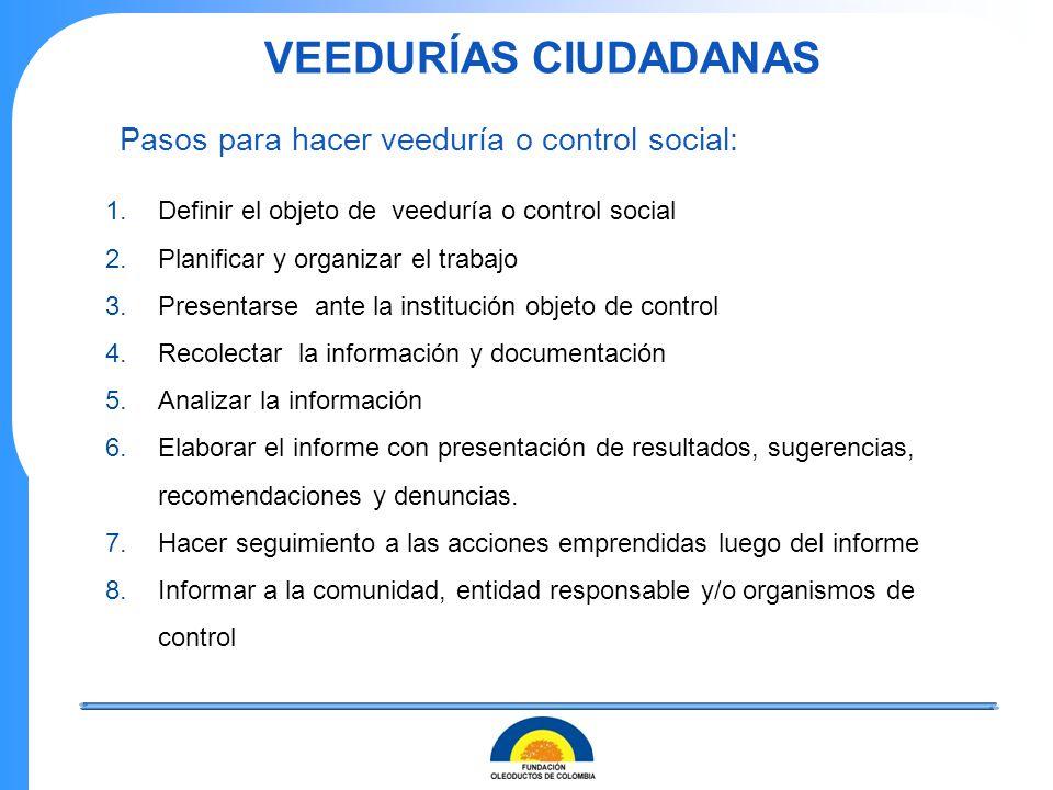 1.Definir el objeto de veeduría o control social 2.Planificar y organizar el trabajo 3.Presentarse ante la institución objeto de control 4.Recolectar