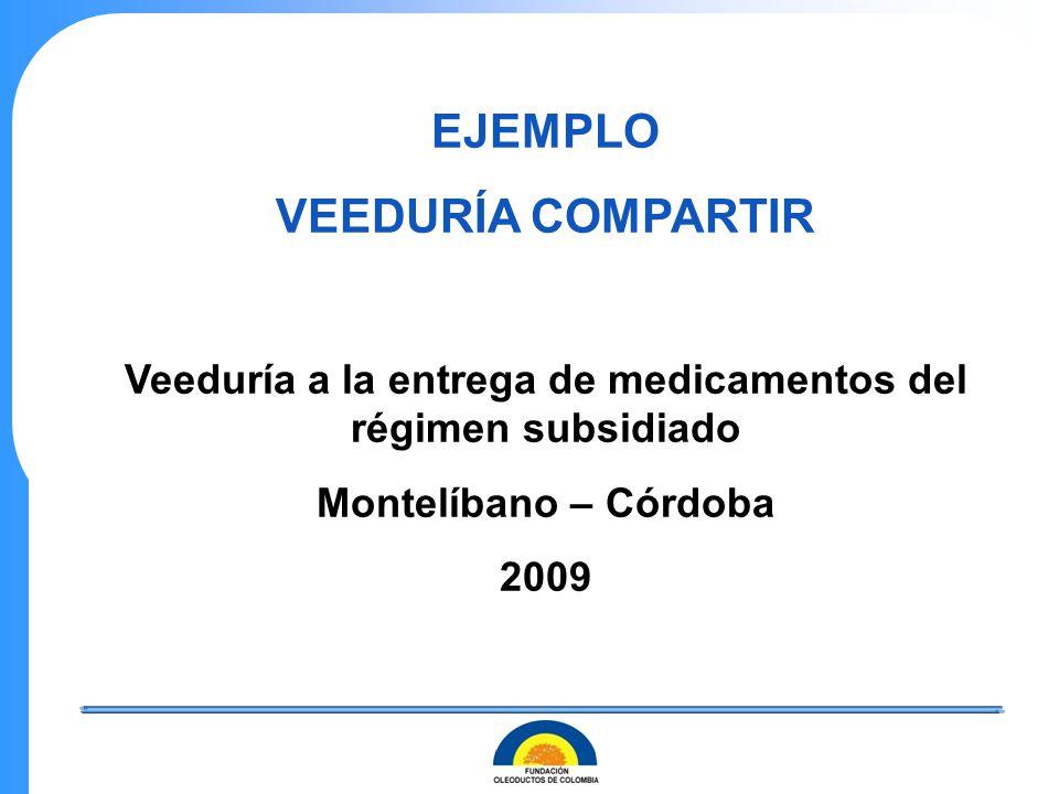 EJEMPLO VEEDURÍA COMPARTIR Veeduría a la entrega de medicamentos del régimen subsidiado Montelíbano – Córdoba 2009