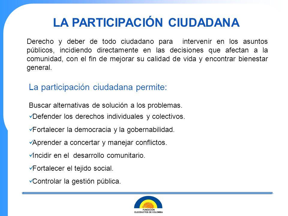 LA PARTICIPACIÓN CIUDADANA La participación ciudadana permite: Buscar alternativas de solución a los problemas. Defender los derechos individuales y c